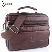 ZZNICK 2017 New Genuine Leather Bag Men Messenger Bags Casual Multifunction Shoulder Crossbody Bags Handbags iPad Holder Men Bag