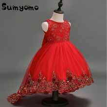 Toddlers Baby Girls Red Wedding Dress Sleeveless Lace Butterfly Party Prom Event Princess Clothing Formal Party Costume