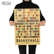 TIE LER Sports Clothes Retro Kraft Paper Poster Indoor Bar Cafe Decorative Painting Wall Sticker 51.5x36cm