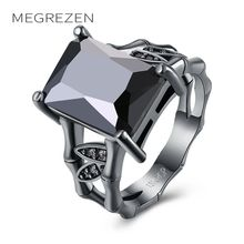 MEGREZEN Wedding Ring Costume Jewelry Unusual Engagement Rings For Women Black Gun Color Jewelery Anel Feminino Bijouterie R1018(China)