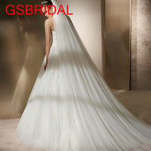 GSBRIDAL white 3 m long trailing 3 layers cathedral wedding veils bridal veil with comb wedding vail accesories women