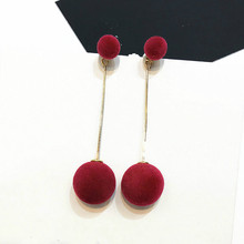 Red Black Grey Plush Balls Long Earrings For Women Bijoux New Fashion Jewelry Cute Gift Earings Fashion Jewelry 2017(China)
