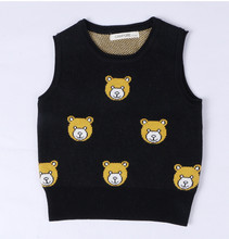 New Bear Baby Boy Sweater Vests O-neck Sleeveless Girls Knitwear Vest Knitting Children Clothing For Autumn Spring AS-1579-4