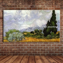 Masterpiece Reputation Hand-painted Modern Home Decor Impressionist Oil Painting Wheat Field With Cypresses By Vincent Van Gogh(China)