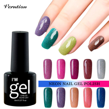 Verntion  lucky 3D Shiny Neon Rainbow Nails UV Gel Nail Polish Professional Long-lasting Gel Varnish Nail Art Design