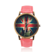 Unisex Vintage Denim Belt UK Flag Pattern Men women Personalized Analog Quartz Watches for Children and adults Hot Selling