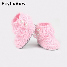 Cute Baby First Walkers Newborn Infant Handmade Crochet Knitted Shoes Kids Prewalker Soft Soled Yarn Boots Toddler Footwear