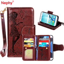 Nephy Wallet Leather Phone Case For Samsung Galaxy S8 Plus S6 S7 Edge S3 S4 S5 A3 A5 J3 J5 J7 2016 2017 Cover Makeup Mirror Capa