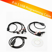 Multifunction 8 in 1 USB Programming Cable for kenwood baofeng motorola yaesu for icom Handy walkie talkie car radio CD Software(China)