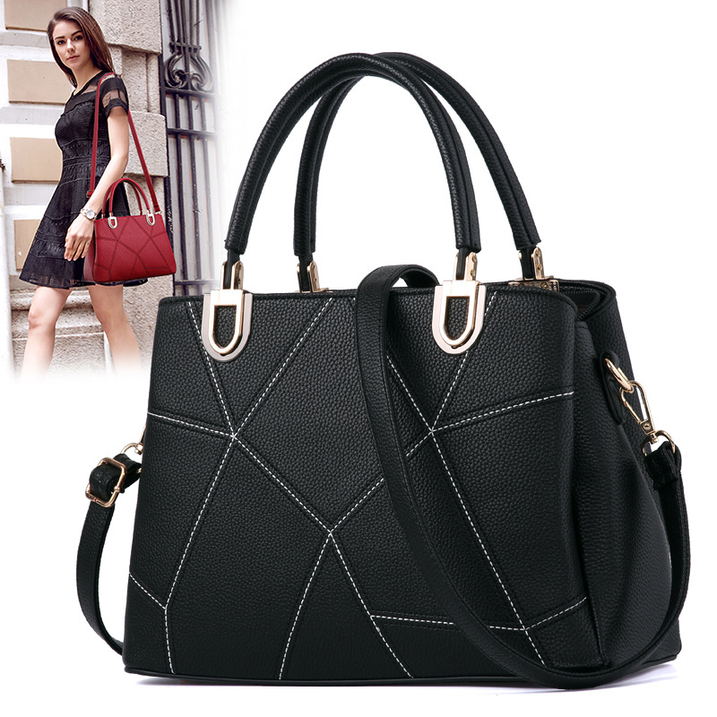 Classic Black Leather Tote Handbags Embossed PU Leather Women Bags Shoulder Handbags Elegant<br>
