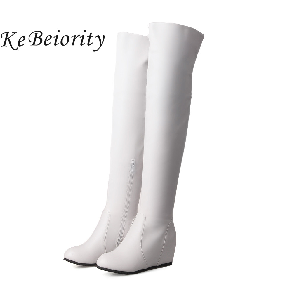 KEBEIORITY Women Boots Height Increasing Over the Knee Boots for Women Autumn High Boots Women Red White Black Thigh High Boots<br>