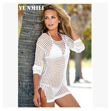 Hollow nets sexy beach wear jackets Prevent bask in grid blouse