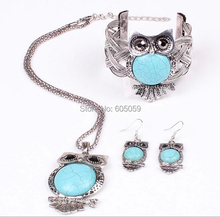 3 pieces set Lead and nickel free quality owl turquoise jewelry sets necklace women earrings bangles fj175 YOUREM