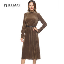 Buy JLI MAY women black velvet dress midi stand collar long sleeve belted autumn winter womens clothing casual ladies office dresses for $25.35 in AliExpress store