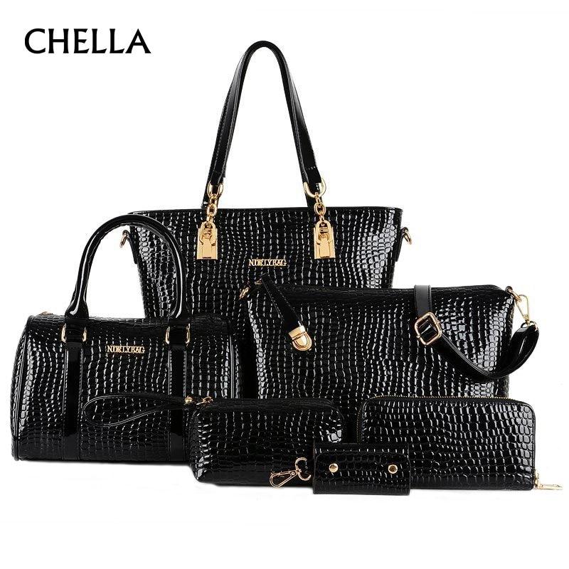6 Pieces Women Handbag Crocodile PU Female Shoulder Bags Bolsas Feminina Big Capacity Bag Femme Designer Set Handbags SS0292<br>