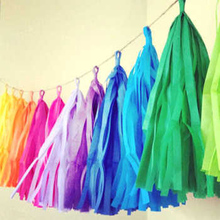 Colorful Tissue Paper Tassels Party Wedding Decor Garland Buntings Pompom Tassle(China)