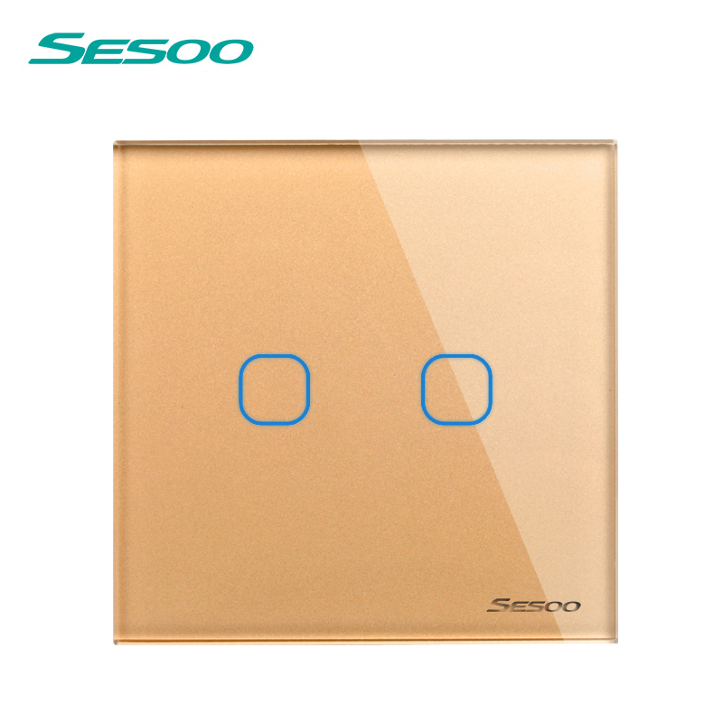 EU/UK Standard SESOO Light Switch, 2 Gang 1 Way Crystal Glass Switch Panel,AC110V~250V Touch screen switch+LED Indicator