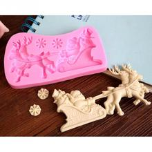 1Pcs 3D Santa Claus Sleigh And Elk silicone baking forms Fondant Cake Chocolate Soap Sugar Craft Mold Mould Cutter Silicone Tool
