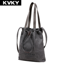 KVKY vintage Female handbag Designer women's large canvas casual tote Ladies messenger bags bucket shoulder bag bolsas femininas