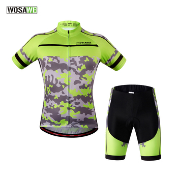 WOSAWE Mountain Racing Bike Cycling Jerseys Set Breathable Bicycle Ciclismo Short Sleeve Gel Pad Cycling Camouflage Clothing