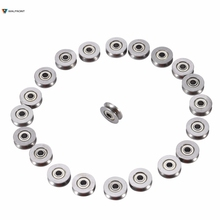 20pcs Sealed Guide Wire Track Wheels Roller 623VV U Groove Pulley Rail Ball Bearing 3x12x4mm For Rail Track Linear Motion System(China)