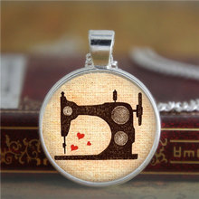 10PCS Sewing necklace Vintage Sewing Machine Jewelry Seamstress Love to Sew Art necklace Sew print glass necklace