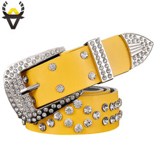 2017 New Fashion Belt female Genuine leather belts women Luxury rhinestone Second layer Cow skin strap woman Wide women's girdle(China)