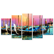 Contemporary Wall Art Sailboat Blue Scene Of Sea Boat Nature Beauty Scenery Paintings Canvas Home Decor Wall Pictures 5 Piece(China)