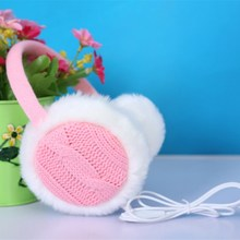 Quality Winter Plush Warm Headphones Wired PC Music Over Ear Earmuff Earphone Computer Phone Headset Women Lady Men Knit Warm