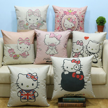 1PC Hello Kitty Home Office Sofa Throw Pillow Cover Cartoon Household Pillowcase  Linen Fabric Cushion Cover 45*45cm 2D