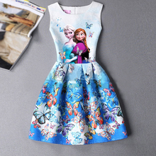 Amuybeen 2017 Dresses For Girls Sleeveles Elsa Dress Flower Girl Dresses Princess Of Blue White Nina of 10 Kid Children Clothing