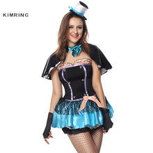 Kimring Deluxe Mad Hatter Halloween Costume In Wonderland Cosplay Magician Sexy Fancy Dress Adult Costume Dress for Women(China)