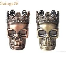 Sweet Cinnamon King Skull Manual mill smoke detectors Metal Tobacco Spice Grinder Crusher 3pcs Pollen Catcher