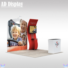 10ft Trade Show Booth Size Easy Fabric Banner Advertising Tube Display Wall With TV Stand And Hard Case Podium (Include All)
