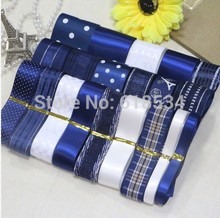 2015 Newest Blue Style 22YDS Printed Satin Grosgrain Ribbon Mixed Ribbon Set Sewing Tapes DIY Accessories ZD-100(China)