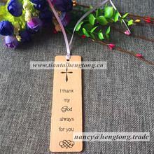 free shipping cheap promotional gift beech wood bible religious bookmark with silk printing, religious pendant