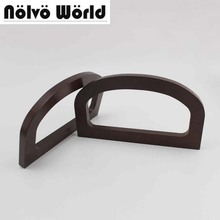5 pairs=10 pieces,16.3X9cm brown wood nice D-shape women handbag purse handle,handmade ladies bag classical wooden handles part(China)
