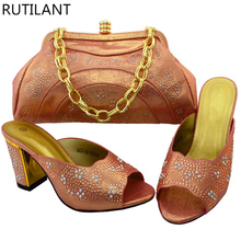 Peach Color Italian Ladies Shoes and Bag Set Decorated with Rhinetsone Women Shoe and Bag Set Italian Shoes with Matching Bag