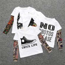 2017 Boy Clothes Cotton T-shirt Long Sleeve Children Tee Shirts Novelty Tattoo Sleeve Baby Girl Tops Spring&autumn Kids Clothing