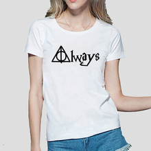 Hot Sale Always Hallows Print funny tshirt Women Casual shirt For Lady fashion harajuku brand female t-shirt punk tops tees(China)