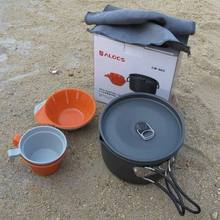 ALOCS Outdoor Camping Pot/Boiler Portable Cookware 1-2 Person with Foldable Handle Aluminum Cookware Travel/Pinic Tableware