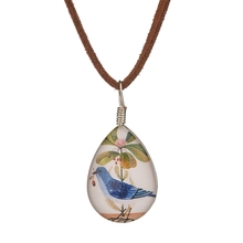 MissCyCy Vintage Handmade Water Droplets Glass Necklace Women Cute Blue Bird Pendant Necklace Jewelry Accessories