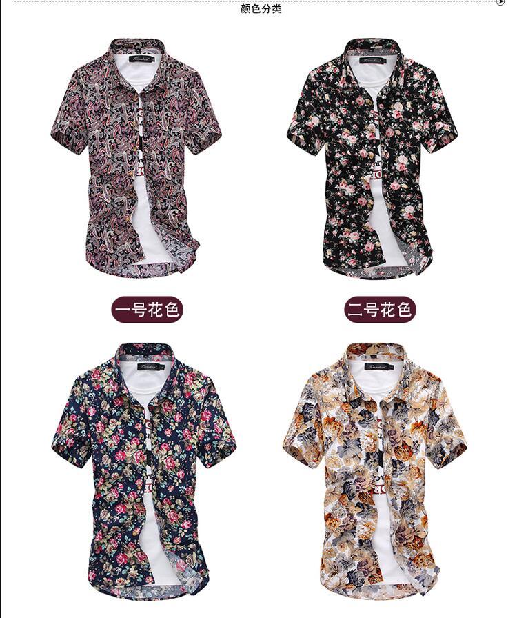 Men Summer Thin Shirts Short Sleeve Floral Shirts New Fashion Men Outwear Casual Slim Shirts Mens Cotton dress shirts 6 Online shopping Bangladesh