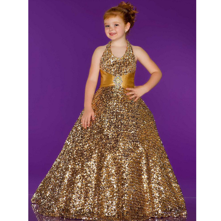 Pageant Dress Little Princess Glitz Ball Gown Gold Column Bateau Brush Train Fully Sequin Beading Prom Evening Girl Dress<br><br>Aliexpress