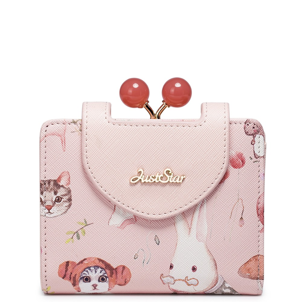 Womens Metal Frame Pink Leather Kiss-lock Short Small Clutch Card Holder Wallet Purse For Girls<br>