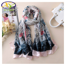1PC180*90cm 2017 New Arrival Europe Style Silk Satin Women Fashion Scarf Summer Thin Woman Fashion Big Size Thin Pashmina Shawls