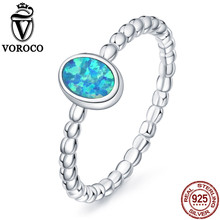 VOROCO 2017 Pure 100% 925 Sterling Silver Oval Shape Blue Opal Stone Simple Rings for Women Wedding Fine Jewelry VSR111(China)