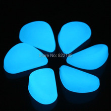2014 Fountain Newest Decorative Gravel for Your Fantastic Garden Or Yard 100 Glow In The Dark Pebbles Stones for Walkway Blue(China)