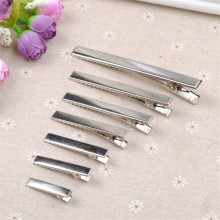 20PCS New Silver Flat Metal Single Prong Alligator Hair Clips Crocodile Barrette For Bows DIY Hairpins 7Size Gifts Craft