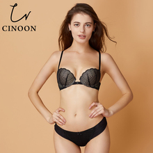 Buy CINOON Sexy Bra Sets Front Closure Lingerie Sexy Underwear Push Bra Women Floral Lace Lingerie Beauty back Female Bras